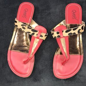 Carlos Santana red painted Calf fur sandal